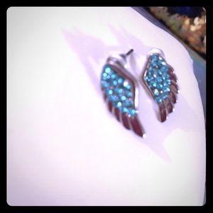 Gorgeous  rhinestone Angel wing earrings